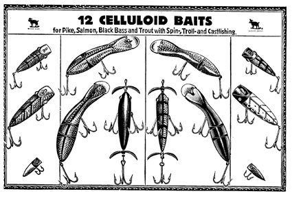 12 box samples of Celluloid Baits