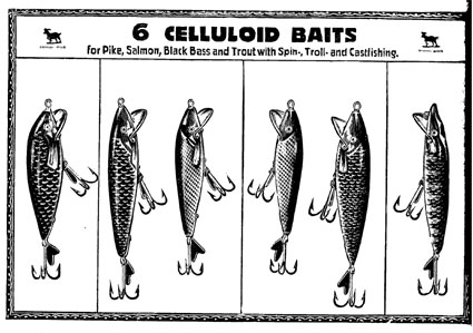 Celluloid Bait sample box of 6 baits.