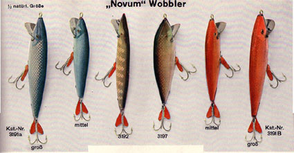 Novum Wobblers from the DAM 1933 catalogue showing their own baits.