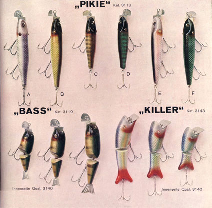 Pikie Bass and Killer baits from the 1933 DAM catalogue.