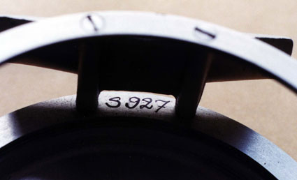 Detail of the serial numbers on Morner reels.